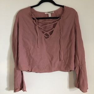 ba49c7fb0c3fda Forever 21 Tops - Forever 21 Dusty Pink lace up crop top L